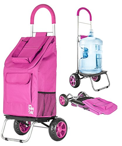 0 Trolley Dolly Shopping Grocery Foldable Cart, Pink ()