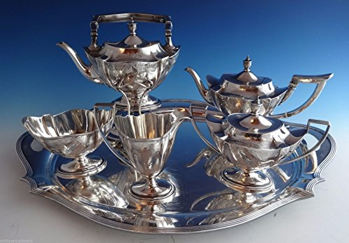 Plymouth Engraved by Gorham Sterling Silver 5pc Tea Set w/SP Tray (#1024) ()