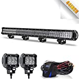 TURBOSII LED Light Bar 44 Inch 288W Spot Flood Combo LED Driving Lamp Off Road Lights + 4
