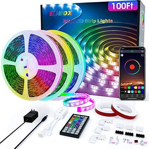 100Ft LED Strip Lights Music Sync Color Changing RGB LED Strip 44-Key Remote, Sensitive Built-in Mic, App Controlled LED Lights Rope Lights, 5050 RGB LED Light Strips for Bedroom Party Home Kitchen