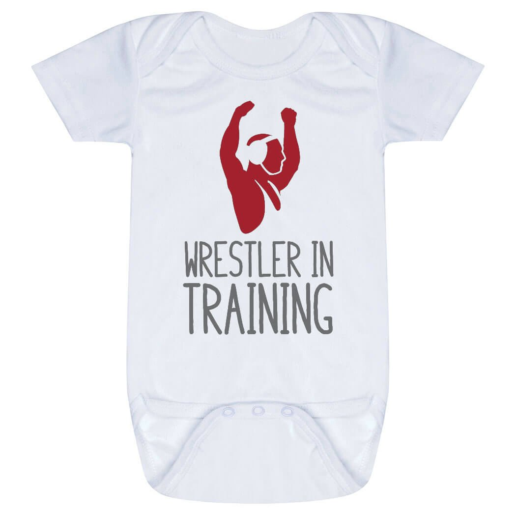 Wrestling Baby & Infant Onesie | Wrestler In Training | RED | One Piece Small