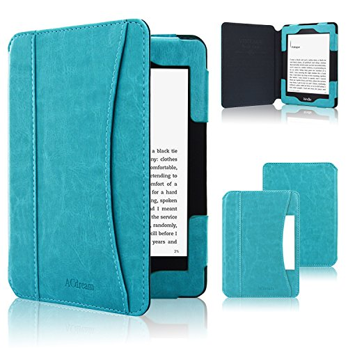 ACdream Kindle Paperwhite Case 2018, Folio Smart Cover Leather Case with Auto Sleep Wake Feature for All New and Previous Kindle Paperwhite Models, Sky Blue (1 Paperwhite)