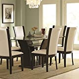 Cheap Homelegance Daisy Rectangular Glass Top Dining Table in Espresso