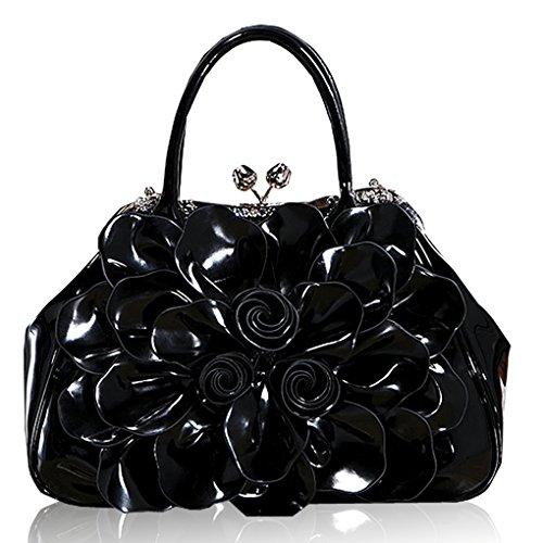 Noir Verni Main Femme Noir Sac KAXIDY Bandoulière Sac à Sac Fleurs Main Cuir Porté wOpnXzq