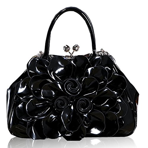 Bag Leather Patent Shopper (Kaxidy Fashion Lady Women Girl Patent Leather Tote Shoulder Bag Handbag Shopper Hobo Bag Messenger Flowers Handbags (Black))