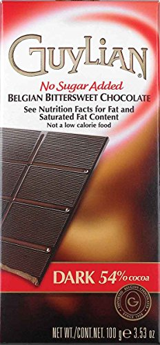 Guylian No Sugar Added Belgian Dark Chocolate Bar, 3.5 Ounces (Pack of 12)