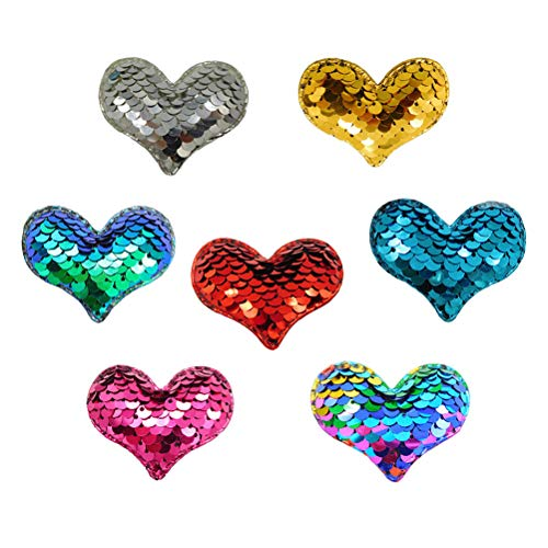 Hearts Trouser - Healifty 7PCS Sequin Love Heart Embroidered Patch Iron On Appliques for Clothing Trousers Bags Stickers Sewing Accessories (Mixed Color)