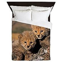 CafePress - Cheetah Cubs - Queen Duvet Cover, Printed Comforter Cover, Unique Bedding, Microfiber