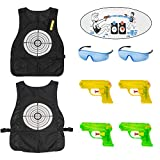 OFUN Two Target Vests for Nerf Water Games, Water Wars Nerf Vests Game for Two or Groups Water Game Including 4 Toy Pistols and Two Safety Goggles