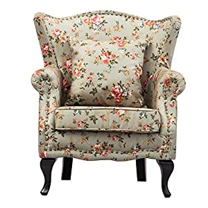 WarmiehHomy Occasional Wing Back Armchair Soft Sanded Fabric Floral Pattern Fireside Accent Chair with Solid Wood Legs…