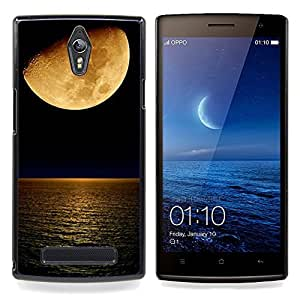/Skull Market/ - Moon Blood Ocean Sea Night Nature For Oppo Find 7 X9007 - Mano cubierta de la caja pintada de encargo de lujo -