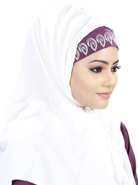 MyBatua White & Purple Rayon Fancy Hijab, Bufanda Con Estilo, Vestido Musulman, Ropa