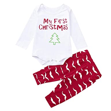 Newborn Christmas Outfit,Kehome Infant Baby Boy Girl My First Christmas  Clothes 2pc Beard Print - Amazon.com: Newborn Christmas Outfit, Kehome Infant Baby Boy Girl My