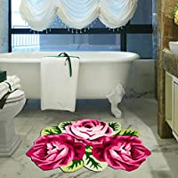 MAXYOYO Personalized Area Rugs,Hand Embroidery 3 Rose Floor Mats,High Quality Rugs for Bedroom,Beautiful Roses Handmade Area Rugs Doormat.