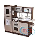MCC Large Kids Brown/Silver Wooden Play Kitchen Children's Role Play Pretend Set Toy Free Utensil Toys (Grey)