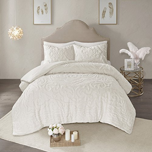 Madison Park Laetitia Comforter Reversible Solid Medallion Flower Floral Tufted 100% Cotton Shell Chenille Soft Down Alternative Hypoallergenic All Season Texture Bedding-Set, King, Ivory