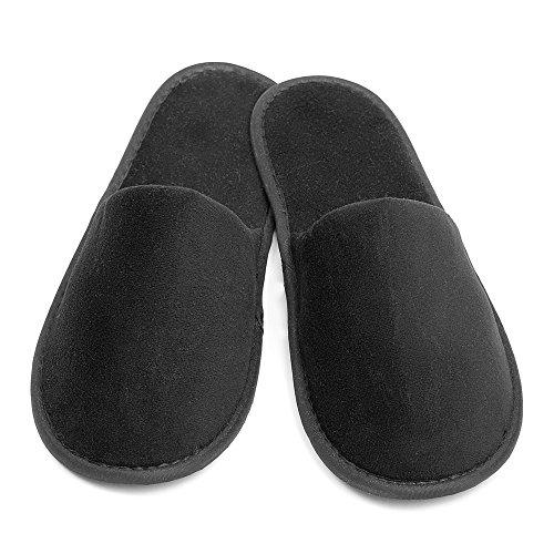 10 Paar Velour Slipper in schwarz von Stubenfein *zu*