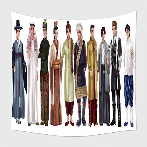Home Decor Tapestry Wall Hanging Cartoon Illustration Of Asian Male Man Traditional Religion And National Costume Dress Clothing 357508559 for Bedroom Living Room Dorm (Asian National Costumes Pictures)