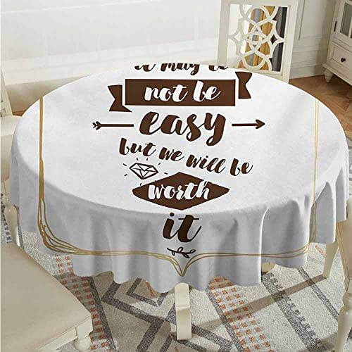 XXANS Indoor/Outdoor Round Tablecloth,Quote,Wedding Proposal Inspired Sentence with Hand Lettering and Diamond Shapes,Table Cover for Home Restaurant,35 INCH,Brown Beige and White