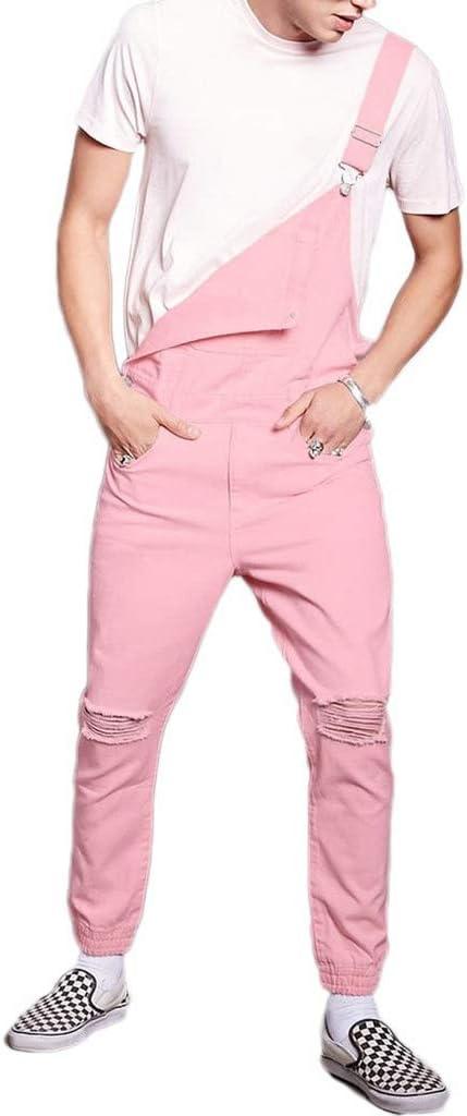 メンズロンパース壊れた銅ジーンズオーバーオールハーラン・ジャンプスーツストラップのズボン秋のファッションピンクのコーデュロイよだれかけパンツ (Color : Pink, サイズ : L)