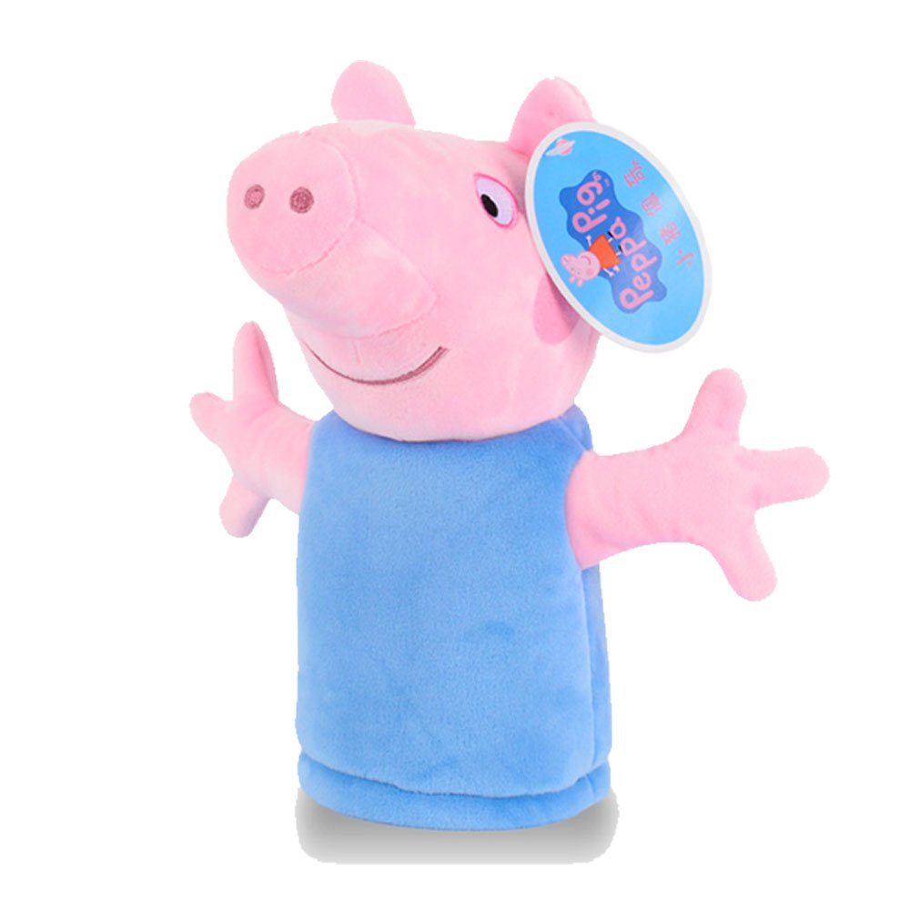 Peppa Pig Authentic Cute Hand Puppet Family of 4 George Daddy Mummy Pig Plush Stuffed Soft Toys Best Gift for Children (George Pig)