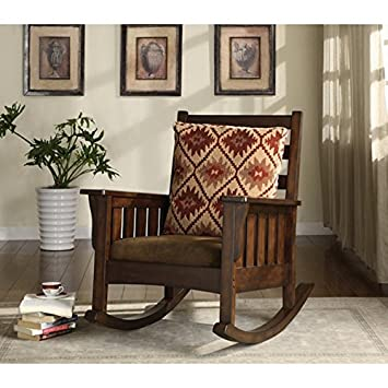Furniture Of America Rosewood Dark Oak Rocking Glider Accent Chair