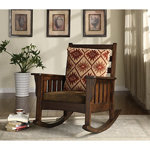 Furniture of America Rosewood Dark Oak Rocking Glider Accent Chair by Furniture of America
