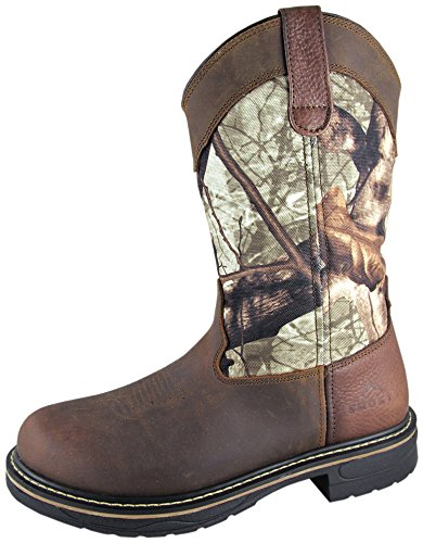 Smoky Mountain Boots Mens Stag Camo Crazy Horse Leather EH Wellington 8.5 D ()