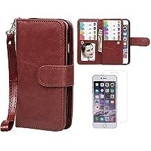 "Case for iPhone 6/6S, xhorizon TM SR Premium Leather Folio Case[Wallet Function][Magnetic Detachable]Wristlet Purse Soft Flip Multiple Card Slots Case for iPhone 6/6S (4.7"") +1 PCS HD Screen Protector"
