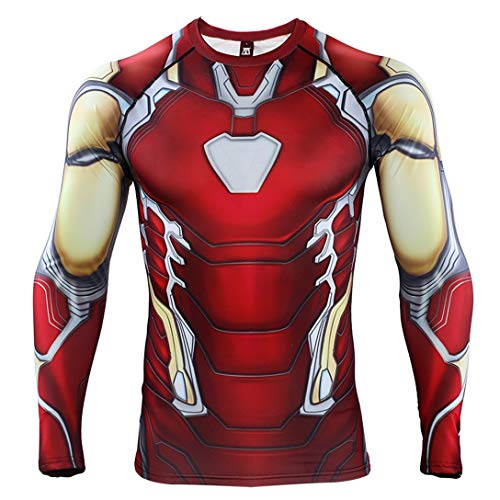 HIMIC E77C Hot Movie Super Hero Quick-Drying ElasticT-Shirt Costume (Medium, Iron Long Sleeve 4) -