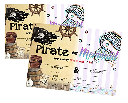Silly Goose Gifts Pirate or Mermaid Which Will Ye Be? Invitations Supply (Set of 12) with Envelopes