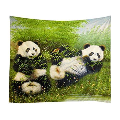 - Messagee Cute Pandas Eat Bamboo Tapestry Wall Hanging Mandala Bohemian Indian Hippie Wall Art