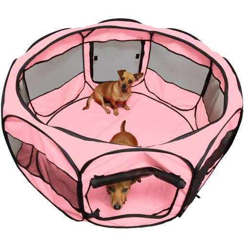 OxGord 48 Pet Cage Pop up Playpen Cat  Dog Exercise Kennel Crate Travel Gear Approved Portable Tent Fence - 2015 Newly Designed Pink