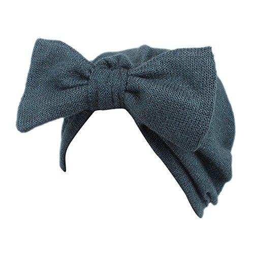 (Barlingrock Bow Knot Head Wrap,Cute Boho Knitting Hat Beanie Hat for Children Baby Kids Girls Hair Accessories (1PC) (Blue))