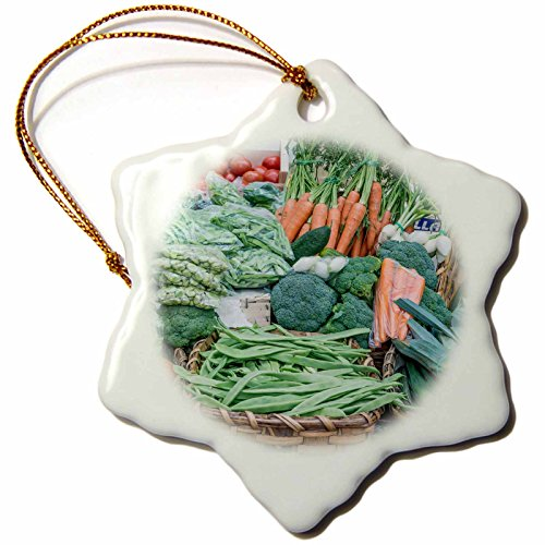 3dRose Spain, San Sebastian, Fresh Vegetables for Sale At Farmers Market Snowflake Ornament, 3'' by 3dRose