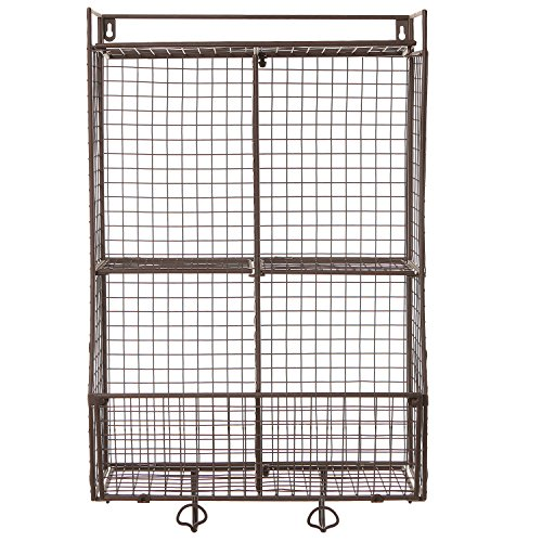 Wall Mounted / Collapsible Metal Wire Mesh Storage Basket Shelf ...