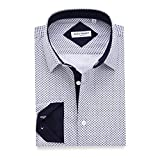 Alex Vando Mens Printed Dress Shirts Regular Fit Casual Button Down Shirt(White,XX Large)