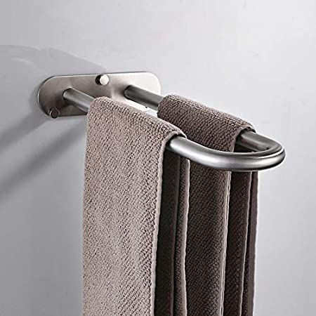 Towel Ring Drilled Wall Mounted Towel Rail Towel Rack Towel Bar for Bathroom and Kitchen Brushed Silver CCKOLE Towel Holder Brushed 304 Stainless Steel
