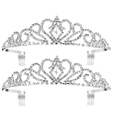 Paxuan 2 Pack Silver Wedding Bridal Crystal Tiara Crown with Comb Rhinestone Princess Headband Headpiece for Girls Women Birthday Pageant Party Wedding Prom Bridal (2PCS)