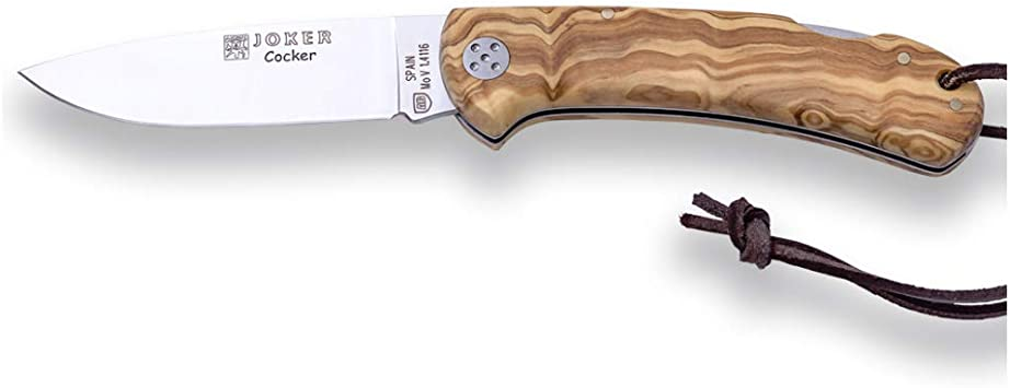 Joker Navaja de Caza Cocker NO134, Mango de Madera de Olivo, Hoja de 9 cm MOVA, con cordón de Cuero, Herramienta de Pesca, Caza, Camping y Senderismo: Amazon.es: Electrónica