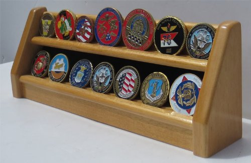 Challenge Coin/Casino Chip Display Stand Rack Holder Stand (Oak Finish, 2 (Oak Challenge Coin)