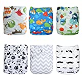 ALVABABY Cloth Diaper Pocket Washable Adjustable Reuseable Boy&Girl Nappies 6PCS+12 Inserts Gift Sets 6DM08-CA
