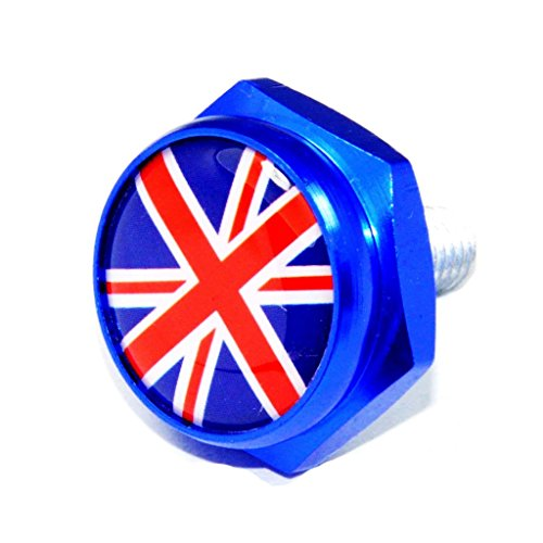 Cutequeen British Flag Blue License Plate Frame Bolts Screws Metal(Pack of 4)