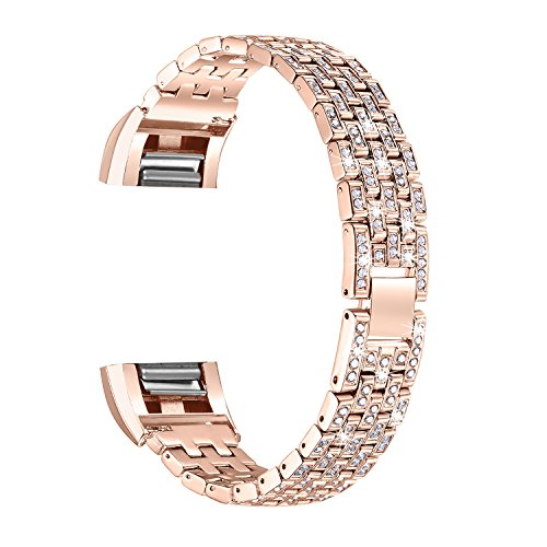 - bayite Metal Bands Compatible Fitbit Charge 2, Replacement Accessories Bracelet Rhinestone Bling, Rose Gold