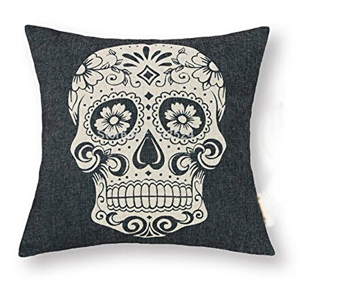 "Price comparison product image The Mexican Candy Skulls Bonehead Skeleton Head Cotton Linen Square Decorative Retro Throw Pillow Case Vintage Cushion Cover 18 ""X18 """