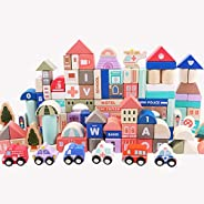 SHEASON 115 PCS City Building Blocks for Toddlers Wooden Toys DIY Construction Toys Play Mat Puzzle 3 Years