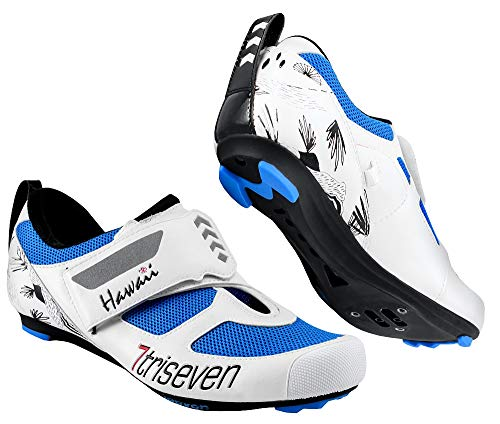 TriSeven Premium Nylon Triathlon Cycling Shoes | Lightweight, Unisex & Fiberglass Sole (40, Blue)