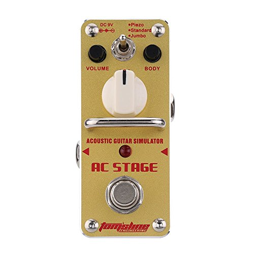 Simulator Effect Pedal - AROMA AAS-3 AC Stage Acoustic Guitar Simulator Mini Single Electric Guitar Effect Pedal with True Bypass
