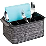 mDesign Silverware, Flatware Caddy Organizer for Kitchen Countertop Storage, Dining Table - Black
