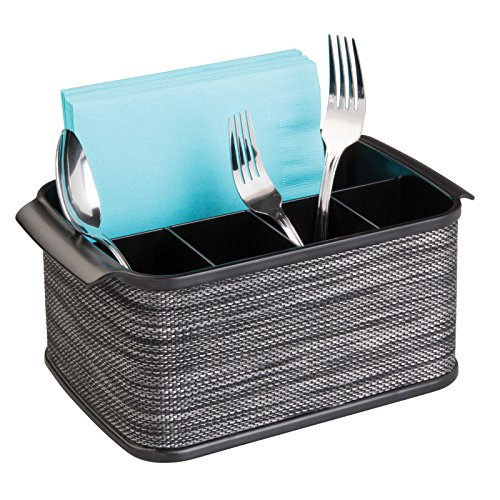 Countertop Silverware Organizer - mDesign Silverware, Flatware Caddy Organizer for Kitchen Countertop Storage, Dining Table - Black